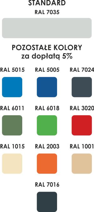 Paleta kolorów szaf bhp