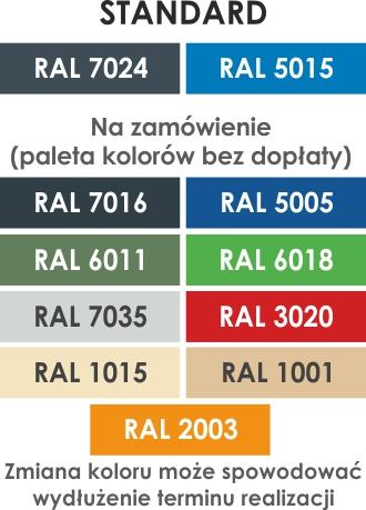 Paleta kolorów mebli metalowych Professional