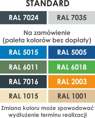 Kolory stołów warsztatowych Optima Line