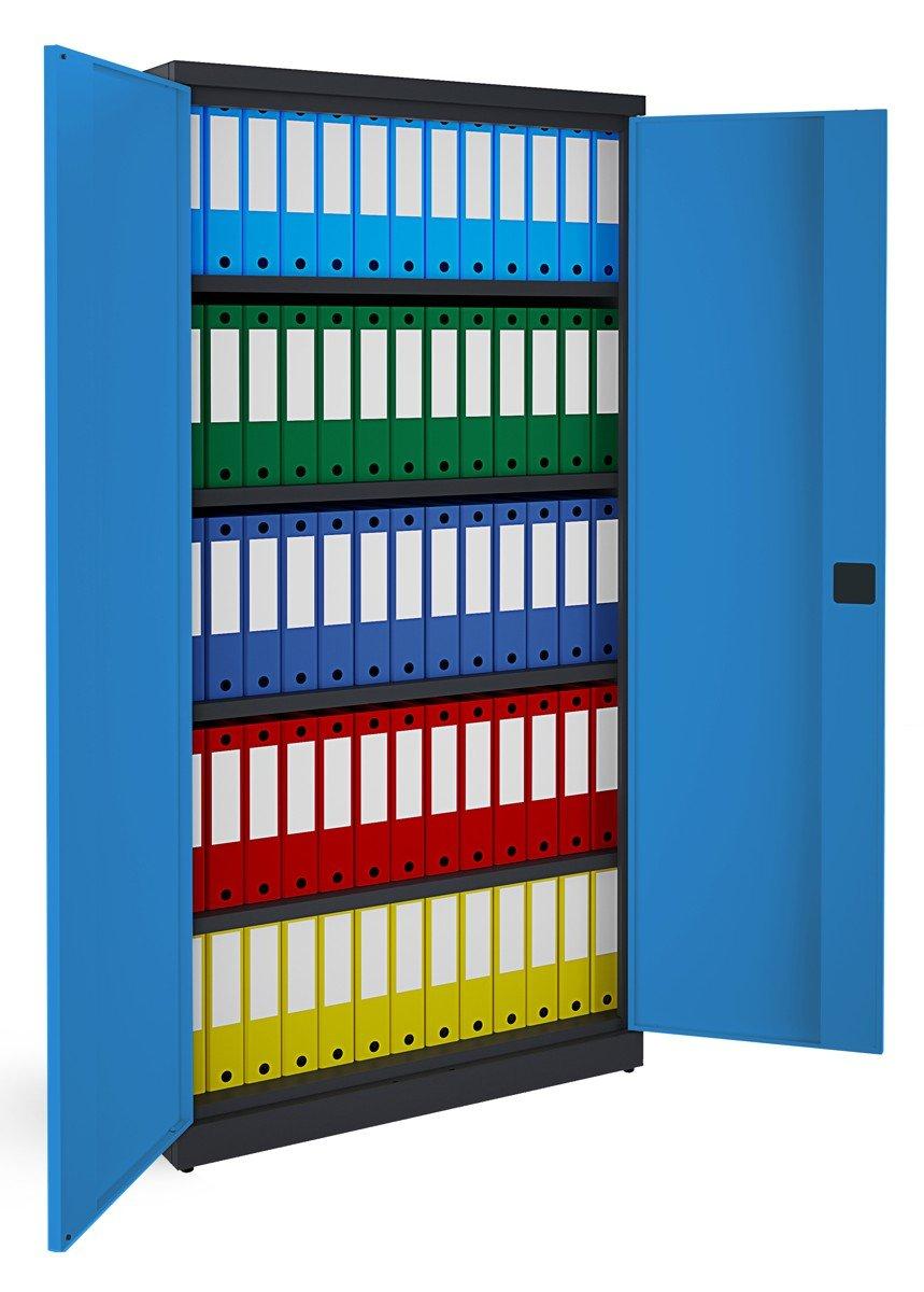 Metalowa szafa biurowa SB 1000 grafitowo-niebieska