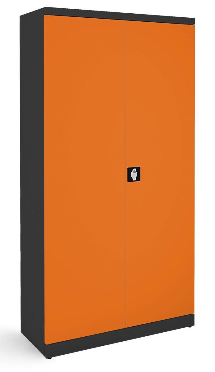 Metalowa szafa biurowa SB 1000 grafitowo-pomarańczowa
