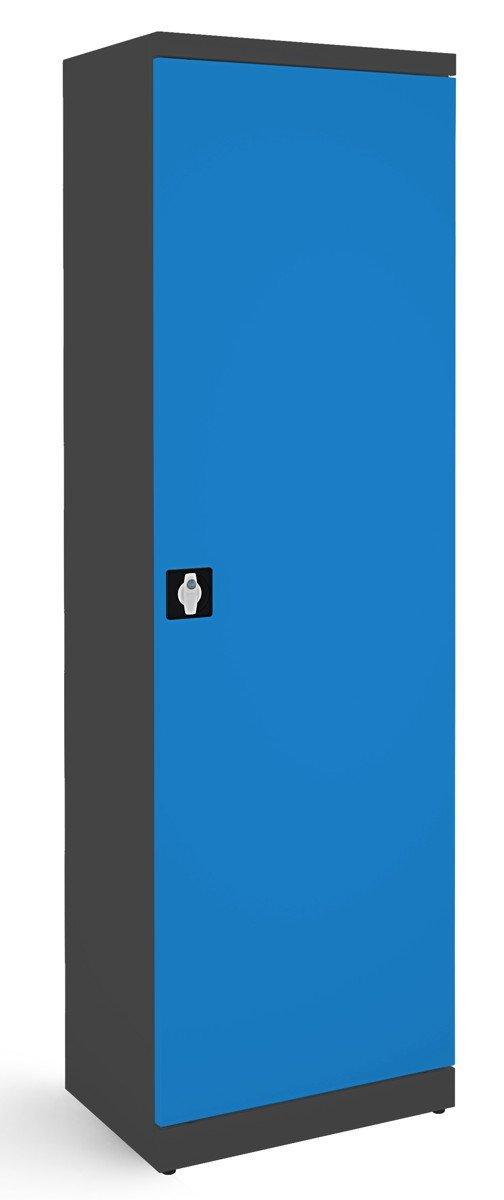 Metalowa szafa biurowa SB600 grafitowo-niebieska