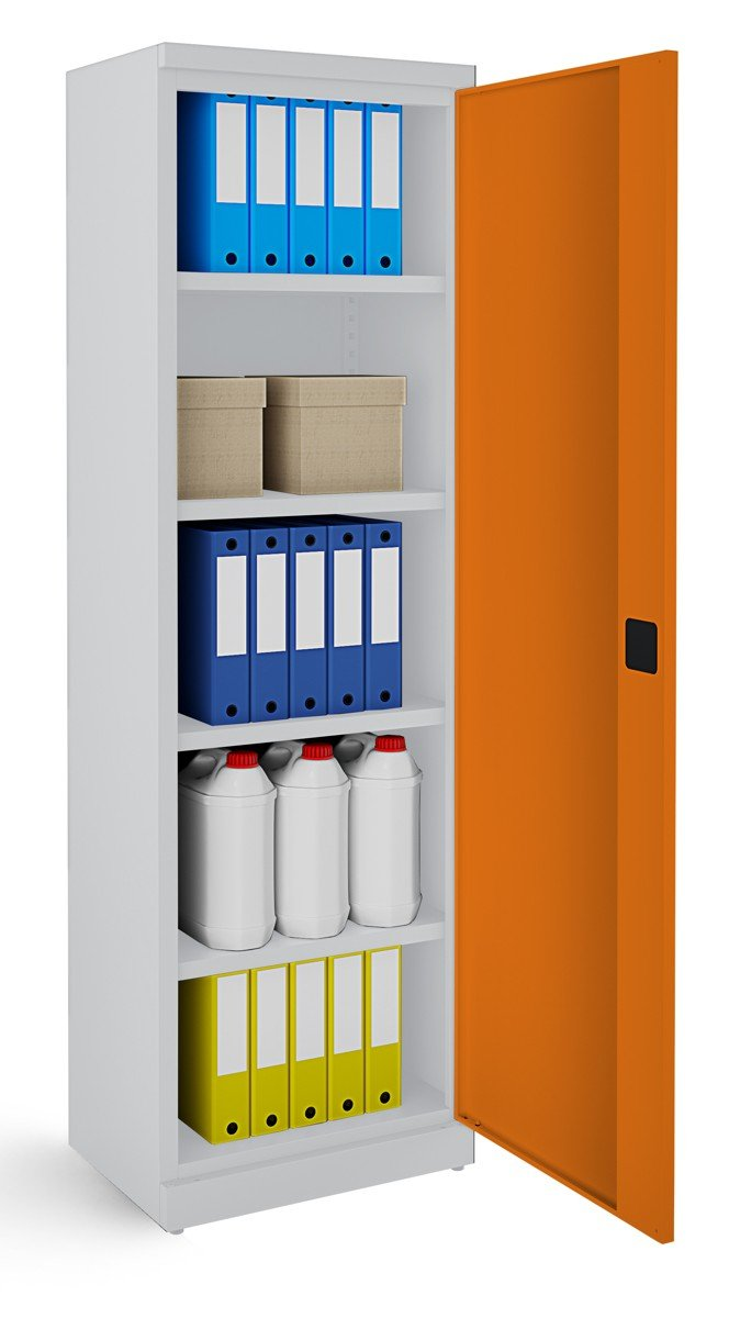 Metalowa szafa biurowa SB600 popielato-pomarańczowa