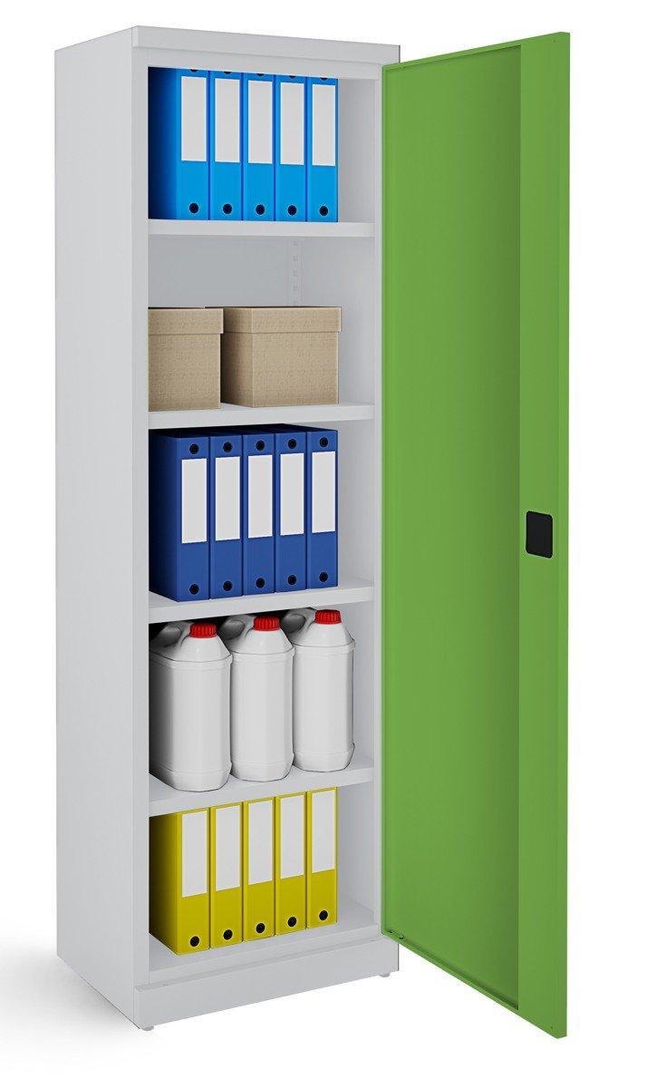 Metalowa szafa biurowa SB600 popielato-zielona