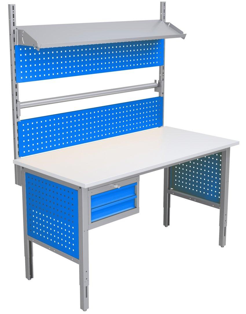 Stół do pakowania z szufladami, uchwytem na papier i nadbudową