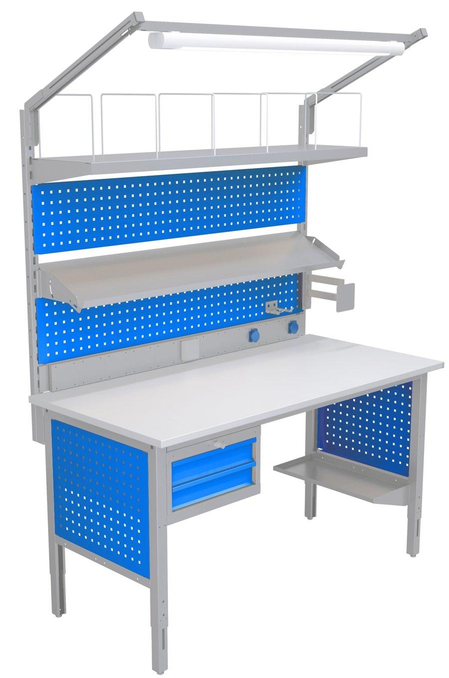 Stół do pakowania o szerokości 1550mm z oświetleniem, półkami i uchwytem na monitor