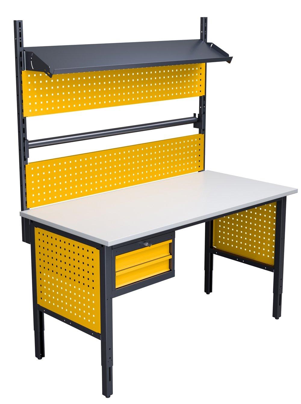 Stół do pakowania z szufladami, uchwytem na papier i nadbudową w kolorze RAL