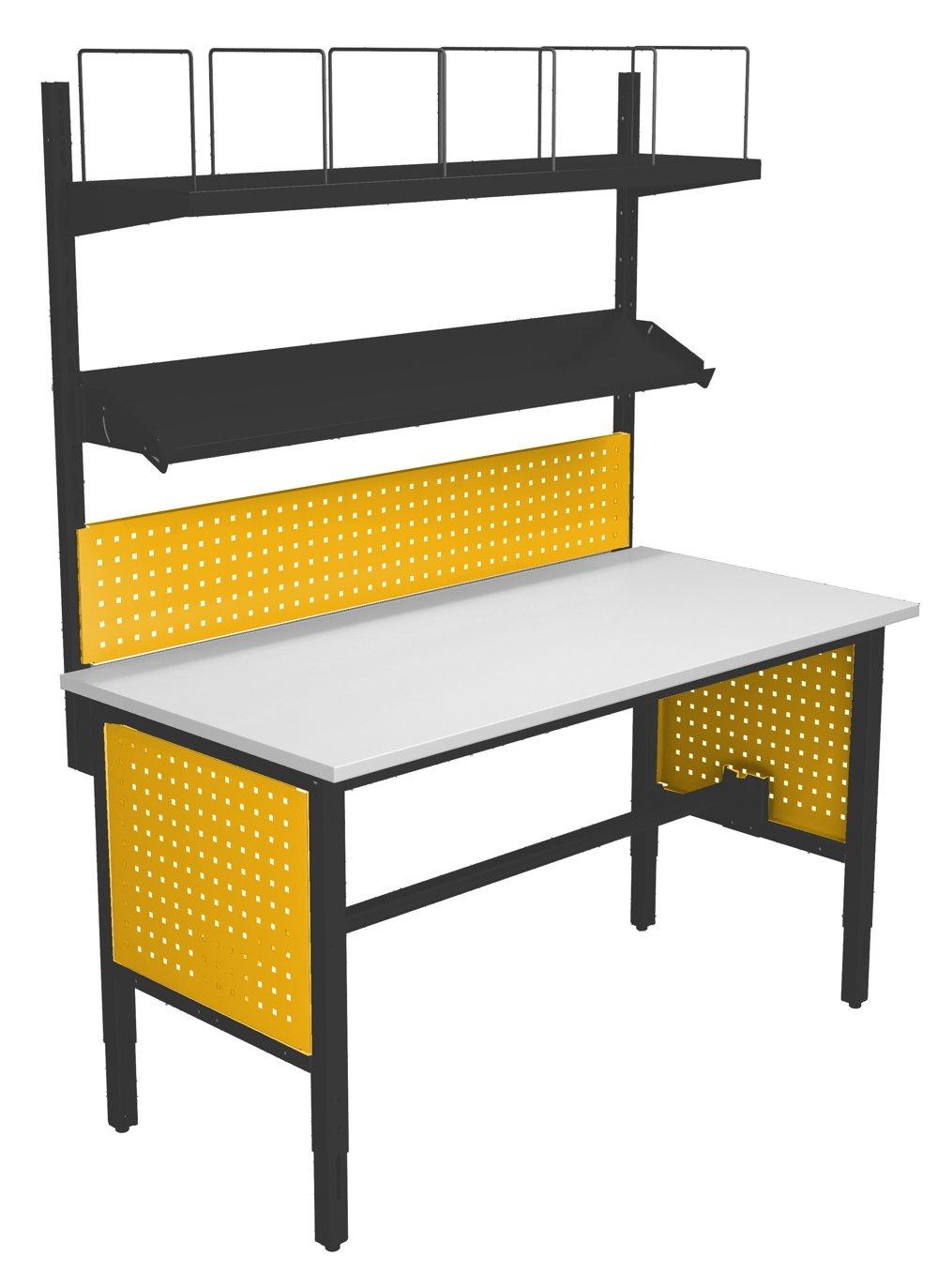 Stół do pakowania z nadbudową i tablicami perforowanymi pod blatem 7024/1023