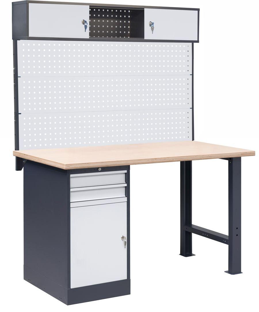 Stół warsztatowy OL02/O2 z nadbudową PL02/3T/1S