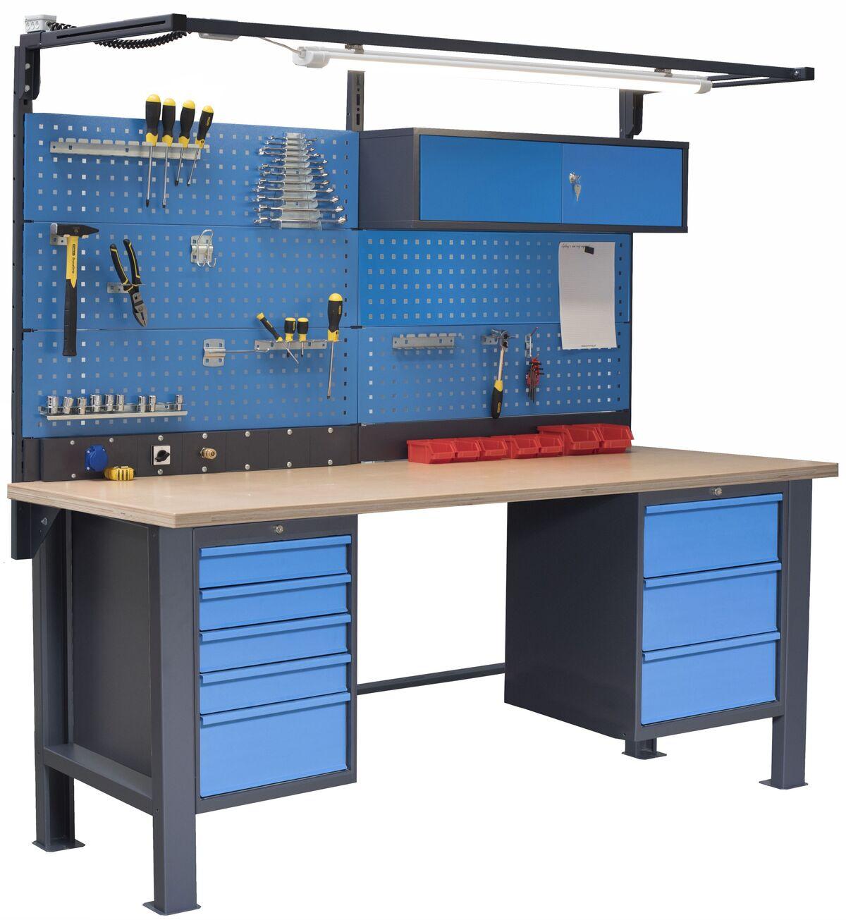 Stół do warsztatu PL03L/P6P8 z nadbudową PL03/5T/S L10